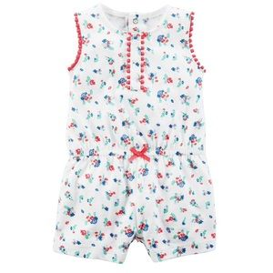 Carter's White Floral One Piece Shorts Romper